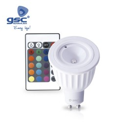 Lampe RGB 5W GU10 6000K+ Télécommande. 230V
