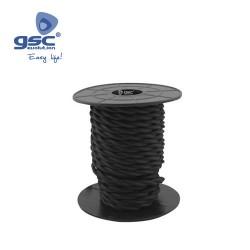 Cable Textile 10M Tressé Noir (2x0.75mm)