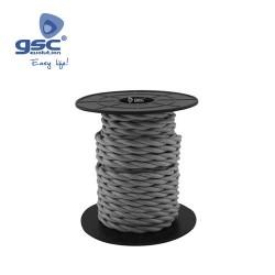 Cable Textile 10M Tressé Gris foncé (2x0.75mm)