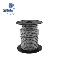 Cable Textile 10M Tressé Gris  (2x0.75mm)