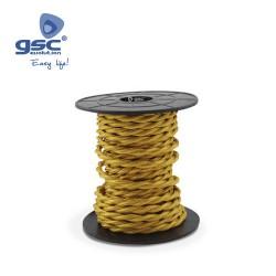 Cable Textile 10M Tressé Jaune (2x0.75mm)