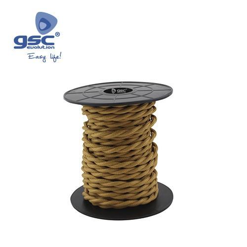 Cable Textile 10M Tressé Doré (2x0.75mm)