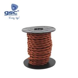 Cable Textile 10M Tressé Rouge Grenat (2x0.75mm)