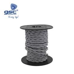 Cable Textile 10M Tressé Noir/Blanc (2x0.75mm)