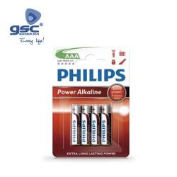 Piles Alcaline PHILIPS LR03 (AAA) Blister 4 Unités