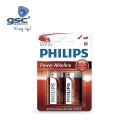 Piles Alcaline PHILIPS LR14 (C) Blister 2 Unités