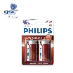Piles Alcaline PHILIPS LR20 (D) Blister 2 Unités