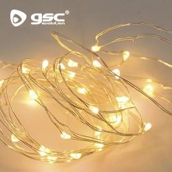 Guirlande Lumière Blanche Chaud 5M  50 LEDS. Piles 3xAA IP44